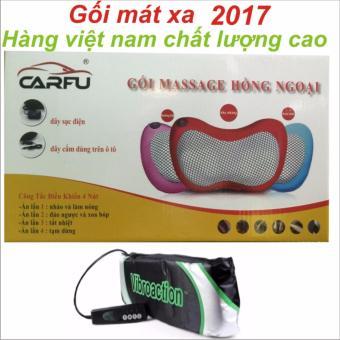 Gối mát-xa hồng ngoại 4 Bi +Tặng máy massage vibroaction