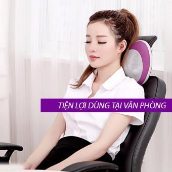 Gối massage hồng ngoại giảm đau mỏi PL-819 6 viên bi (Tím)