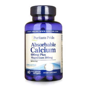 Viên uống bổ sung Canxi dạng dễ hấp thụ Puritan's Pride Absorbable Calcium 600mg Plus Magnesium 300mg 60 viên