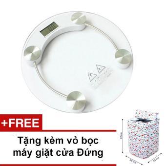 Cân Điện Tử kính Cường Lực Theo dõi Cân nặng (Trắng) + tặng kèm vỏ bọc máy giặt