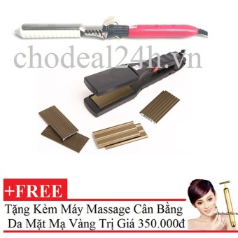 Bộ 1 máy bấm tóc 4 kiểu và 1 máy uốn tóc Setting Cho Deal 24h + Tặng Máy mát-xa cân bằng da mặt