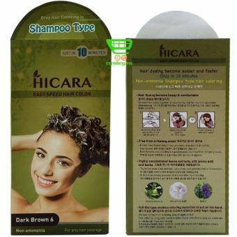 Thuốc nhuộm tóc phủ bạc dạng gội HICARA Easy 6 60g (Nâu Đen)