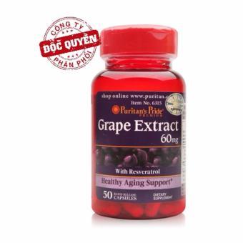 Viên uống chống lão hóa, đẹp da, hỗ trợ tim mạch chiết xuất nho Puritan's Pride Grape Extract 60mg 50 viên