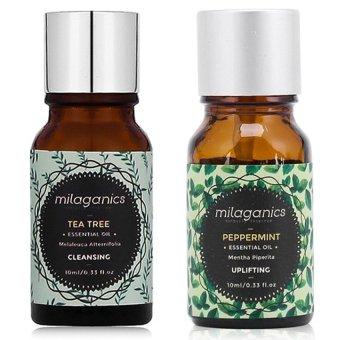 Bộ 1 tinh dầu tràm trà Milaganics 10ml và 1 tinh dầu bạc hà Milaganics 10ml