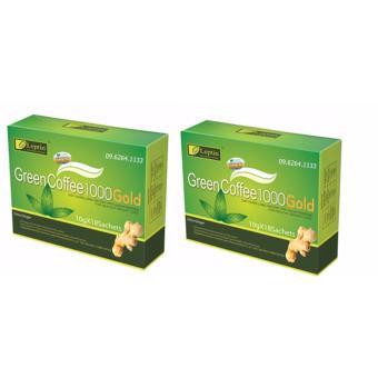 Combo 2 hộp cà phê xanh GIẢM CÂN green coffee leptin hương gừng (Chính hãng - Mỹ)