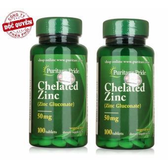 Bộ 2 Viên uống bổ sung kẽm tăng cường hệ miễn dịch, hỗ trợ sinh sản Puritan's Pride Chelated Zinc 50mg 100 viên