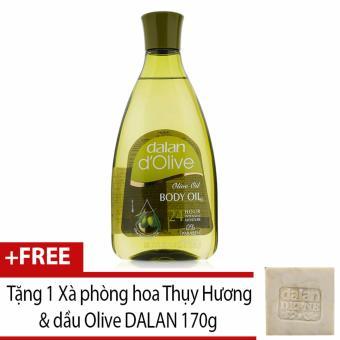 Tinh dầu massage dưỡng ẩm toàn thân từ ô liu Dalan D'Olive Olive oil Body Oil 250ml + Tặng 1 Xà phòng hoa Thụy Hương & dầu Olive DALAN 170g (Hàng Chính Hãng)