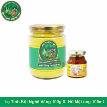 1 lọ tinh bột nghệ vàng Tinh Nghệ Quê Hương 100g và 1 lọ mật ong 100ml (cho người đau dạ dày)