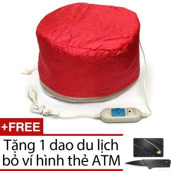 Mũ hấp tóc cá nhân Verygood + Tặng 1 dao du lịch bỏ ví hình thẻ ATM ( màu đen )