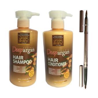 Bộ dầu gội & dầu xả chống rụng tóc GREEN GRAPHY Deep Essence Argan + Tặng chì kẻ môi
