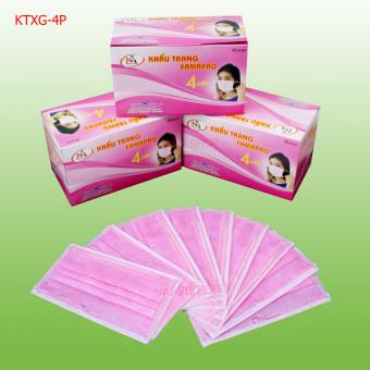 Bộ 3 hộp khẩu trang y tế kháng khuẩn cao cấp - 4 lớp lọc (Màu Hồng)