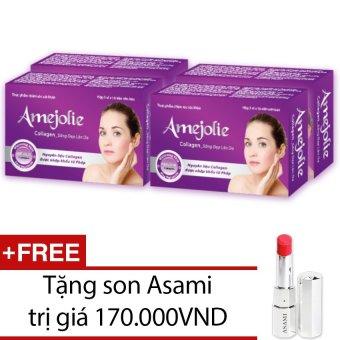 Bộ 4 hộp thực phẩm chức năng Amejolie Collagen 30 viên + Tặng 1 son Asami