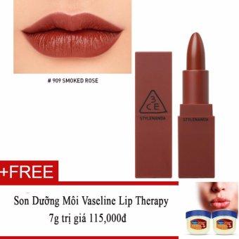 Son lì 3CE Mood Recipe Matte Lip Color #909 Smoked Rose + Tặng Son Dưỡng Môi Vaseline Lip Therapy 7g