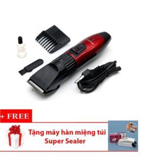 Tông đơ cắt tóc cho trẻ em KEMEI KM-730 (Đỏ phối đen) + Tặng Máy hàn miệng túi Super Sealer