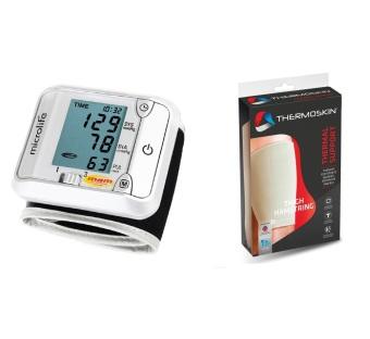 Bộ Máy đo huyết cổ tay Microlife 3BJ1-4D (Xám) và Băng nẹp bắp đùi Thermoskin 8-211 (Ghi)