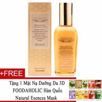 Sữa dưỡng da tinh chất nhau thai cừu Beauskin Placenta Gold Emulsion Vegetable 145ml + Tặng 1 mặt nạ dưỡng da 3D FOODAHOLIC Hàn Quốc natural esences mask