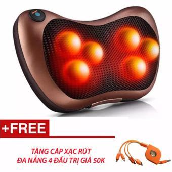 Gối massage hồng ngoại đa năng PL-819 (6 Bi) Tặng cáp rút 4 đầu (Nâu)