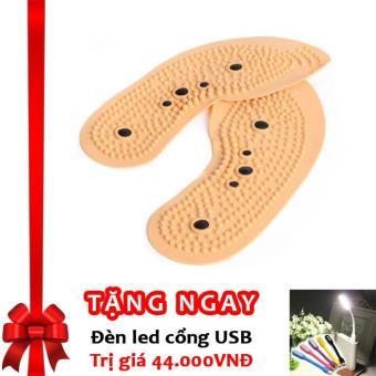 Miếng lót giày massage, nam châm bấm huyệt và khử mùi hôi chân F67 (Màu da) + Tặng đèn LED cổng USB