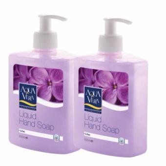 Bộ 2 nước rửa tay dưỡng chất hoa Tử Đinh Hương AquaVera Liquid Hand Wash 500ml # Lilac