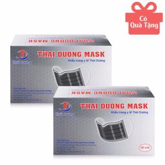 Bộ 2 hộp khẩu trang y tế than hoạt tính 4 lớp Thái Dương Mask 50 cái/hộp (TẶNG 1 HỘP KHẨU TRANG XANH HOẶC TRẮNG)