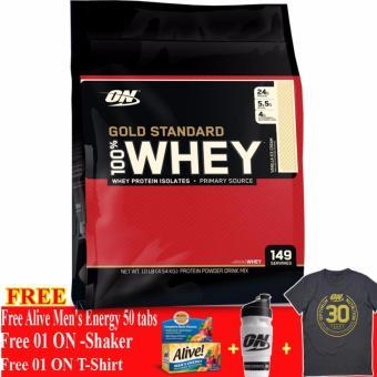 Thực phẩm bổ sung tăng cơ Gold Standard 100% Whey Vanilla Ice Cream 10 lbs + Tặng Alive Men's Energy 50 viên, Bình lắc và Áo Thun