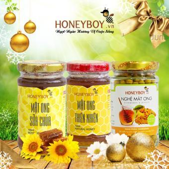 Bộ Mật ong thiên nhiên Honeyboy 100ml, Mật ong sữa chúa 100ml, Nghệ Mật ong 80g