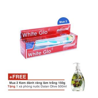 Bộ 2 Kem đánh răng làm trắng răng White Glo 150g tặng 1 Xà Phòng Nước Dalan Olive 500ml