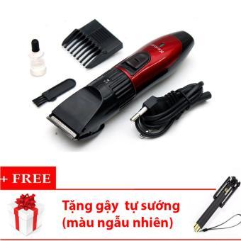 Tông đơ cắt tóc cho trẻ em KEMEI KM-730 (Đỏ phối đen) + Tặng gậy tự sướng (màu ngẫu nhiên)