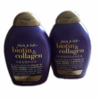 Bộ dầu gội và dầu xả kích thích mọc tóc OGX Thick and Full Biotin and Collagen Shampoo & Conditioner (Tím)