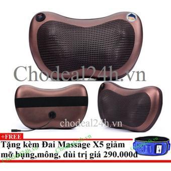 Gối mát-xa hồng ngoại Massage Pillow + Tặng đai massage x5 giảm mỡ
