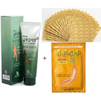 Bộ Hộp Dầu Lạnh Xoa Bóp Glucosamine Hàn Quốc 150ml và Túi Miếng Cao Dán Sâm Hàn Quốc Giảm Nhức Mỏi (20 miếng)