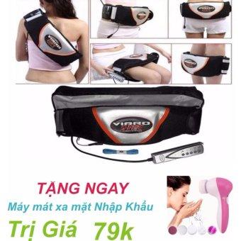 Đai massage giảm mỡ bụng nóng & rung Vibro Shape (Đen) +Tặng máy mát xa mặt