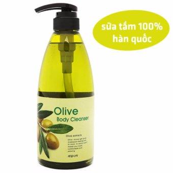 Sữa tắm dưỡng da mềm mịn tinh chất ô liu Welcos Olive Body Cleanse Hàn Quốc 740ml - Hàng Chính Hãng