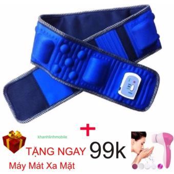 Đai massage giảm mỡ bụng X5 (Xanh) + tặng máy mát xa mặt