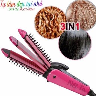 Máy làm tóc đa năng 3 trong 1 SH-8097 (Màu hồng phối đen)