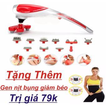 Máy mát-xa cầm tay 10 đầu (Đỏ) + Gen nịt bụng giảm béo
