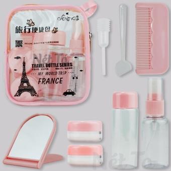 Bộ sang chiết mỹ phẩm du lịch 8 trong 1 có túi đựng tiện lợi (màu hồng)