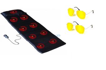Nệm massage toàn thân 332 (đen) + Tặng 2 kính đi đêm chống chói (vàng)