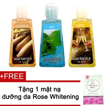 Bộ 3 gel rửa tay Lamcosme 60ml (Lemongrass, Mint, Cheers) + Tặng mặt nạ Rose Whitening Mask