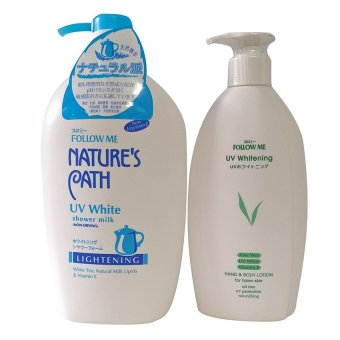 Bộ sản phẩm ( Sữa tắm Cao cấp Follow Me Nature's Path UV White 1000ml + Sữa dưỡng thể Follow Me - UV White 400ml )