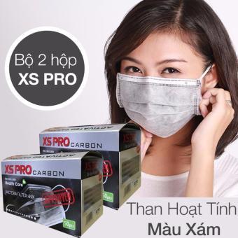 Bộ 2 Hộp khẩu trang y tế than hoạt tính 4 lớp XS Pro Hộp 50 chiếc (Xám)
