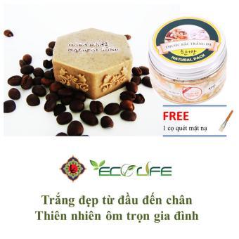 Combo xà phòng rửa mặt trị mụn trắng da cà phê ( Hình hộp nhạc ) và bột trắng da thuốc bắc Ecolife