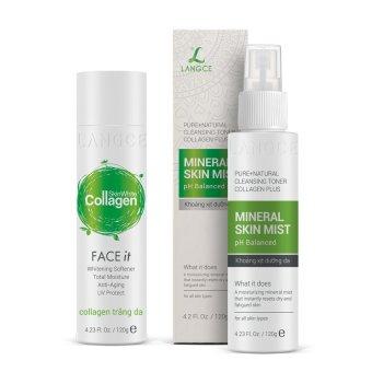 Bộ dưỡng trắng đẹp da giữ ẩm Collagen trắng da 120ml và Khoáng xịt dưỡng da 120ml LANGCE
