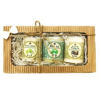 Hộp quà tặng thiên nhiên cao cấp 3 xà phòng handmade rửa mặt thảo mộc dưỡng da, trị mụn, trắng da thuốc bắc, rau má , trái nhàu Ecolife