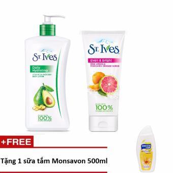Sữa dưỡng thể St.Ives Vitamin E và Bơ 621ml + sữa rửa mặt Tẩy Tế Bào Chết St.Ives Cam Chanh 170g + tặng 1 sữa tắm Monsavon 500ml