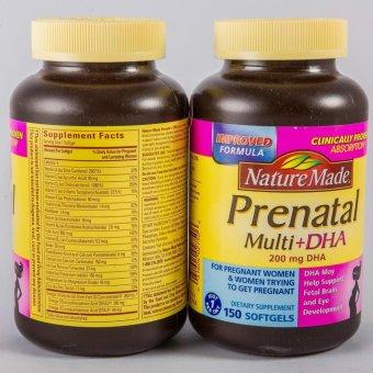 Viên uống bổ sung Vitamin cho bà bầu Nature Made Prenatal Multi+Dha 150 viên
