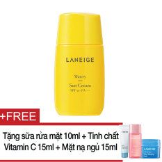 Kem chống nắng Laneige Watery Sun Cream SPF50+ PA++++ 50ml + Tặng sữa rửa mặt Multi Cleanser 10ml + Mặt nạ ngủ Water Sleeping Mask 15ml + Tinh chất Clear C Ad.Effector 15ml