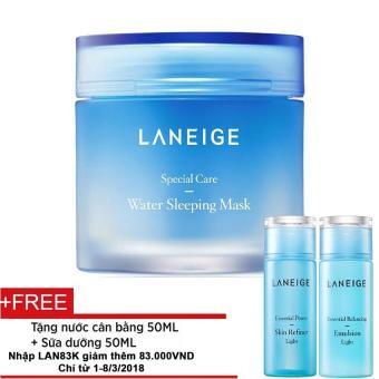 Mặt nạ ngủ dưỡng ẩm Laneige 70ml + Tặng 1 nước hoa hồng dưỡng ẩmsáng da Laneige 50ml và 1 sữa dưỡng cân bằng độ ẩm Laneige 50ml