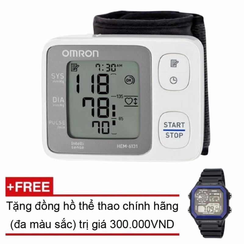 Nơi bán Máy đo huyết áp cổ tay Omron HEM-6131 + Tặng đồng hồ thể thao