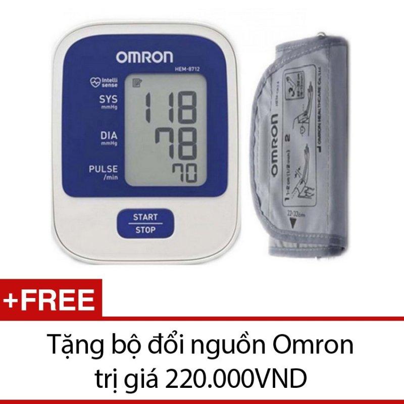 Nơi bán Máy đo huyết áp Omron HEM 8712 (Trắng) + Tặng bộ đổi nguồn